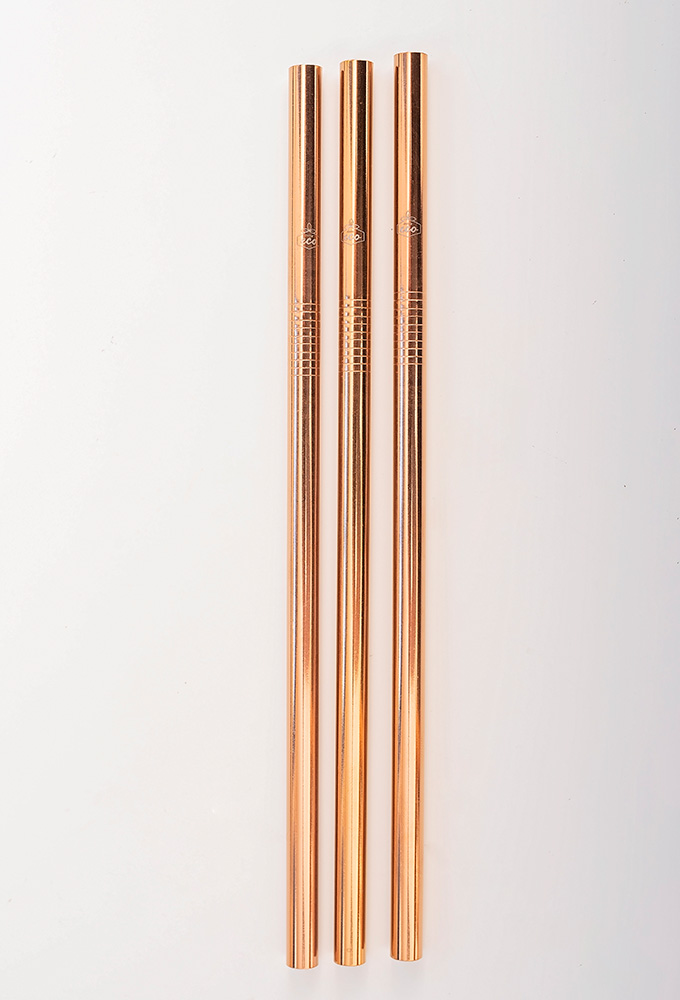 Straight Rose Gold Stainless Steel Straw Kit Two