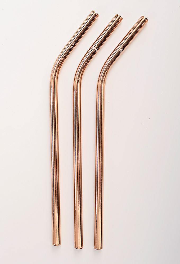 Bent Rose Gold Stainless Steel Straw Kit Two